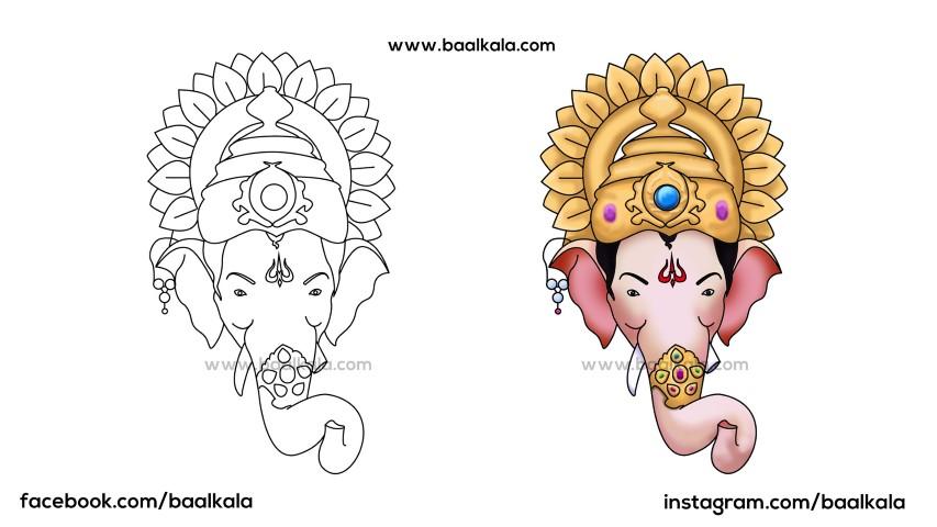 How To Draw Lalbaugcha Raja Head Easy Step By Step Lord Ganesha