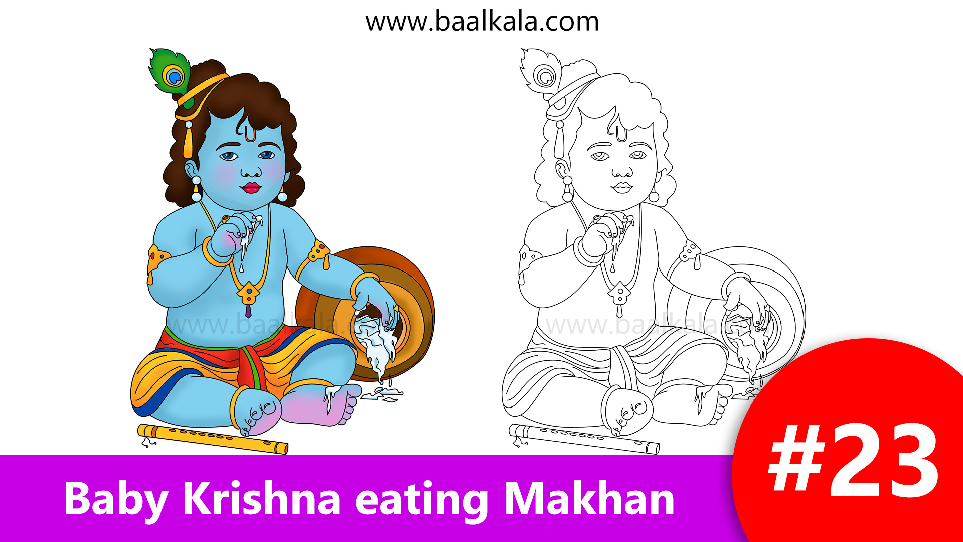 Draw cute baby krishna eating butter makhan step by step easy drawing for kids