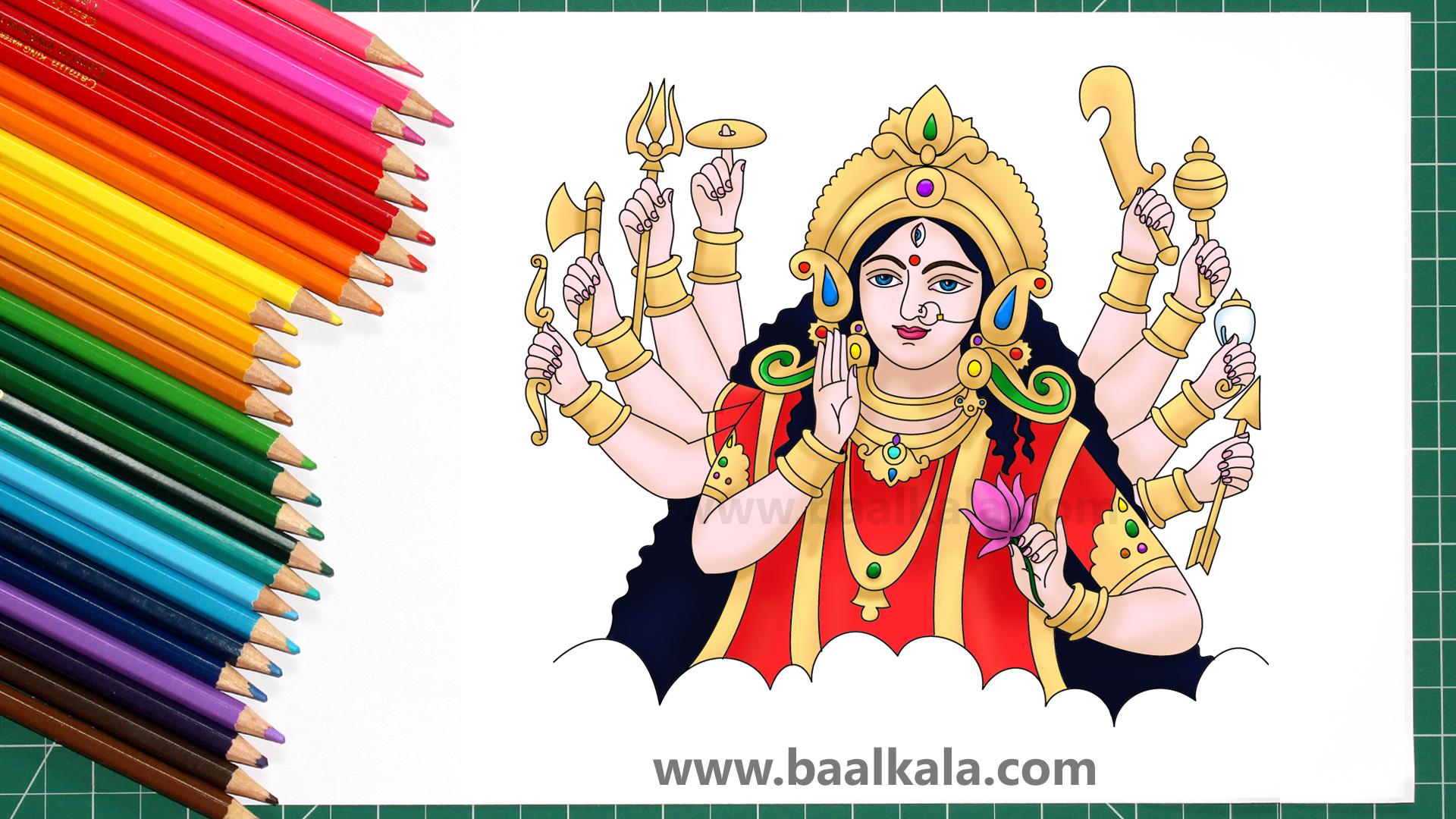 Durga Drawing How To Draw Beautiful Maa Durga Drawing Baalkala